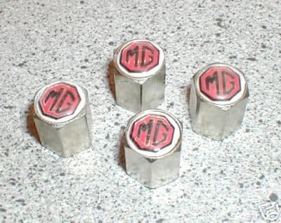 VALVE CAPS SET4 MG LOGO MGB MG MIDGET MGF