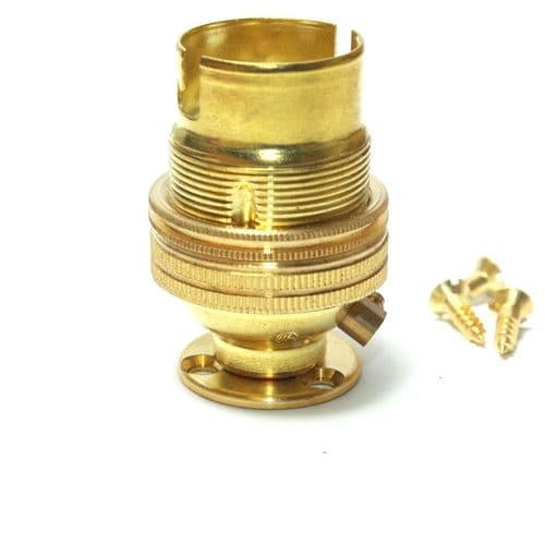 1/2'' Solid Brass Finish BC Shadering Lampholder c/w Fixing Plate