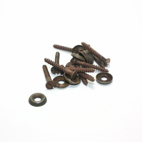 """1"""" x 6g Solid Brass CSK Woodscrews c/w Cup Washers Antique Finish PKT 10"""