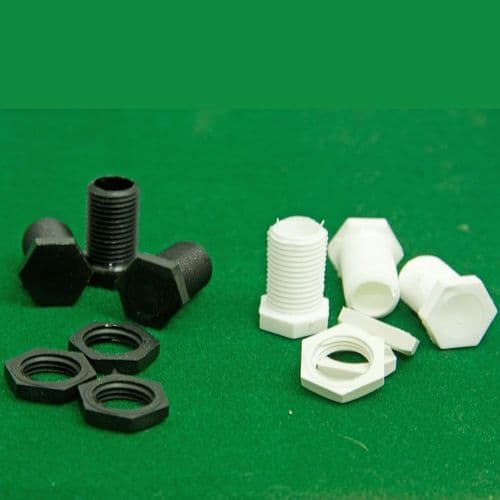 10mm Male Nylon BLANKING Pottery Nipple c/w Nuts Black or White Long Pack of 3