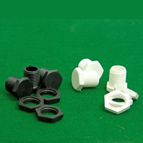10mm Male Nylon BLANKING Pottery Nipple c/w Nuts Black or White Short Pack of 3
