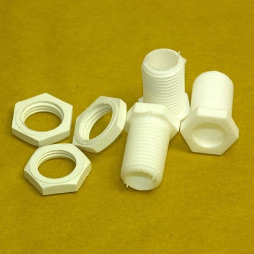 10mm Male White Nylon Pottery Nipples and Nuts PKT 3