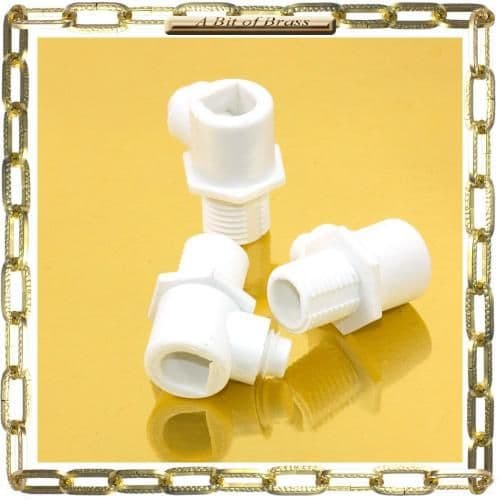 10mm White Nylon Male Pillar Cable Gland Pack 3