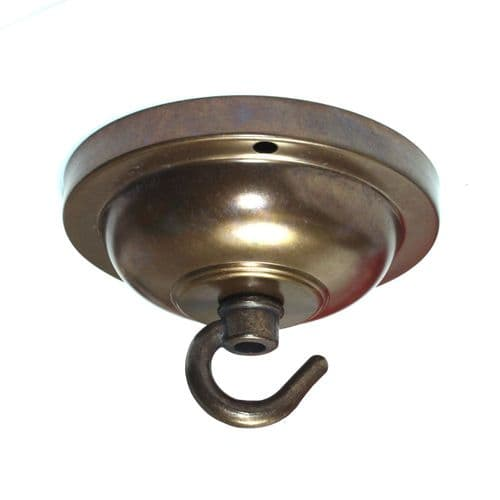 90mm Solid Brass Antique Finish Hooked Ceiling Rose Plate