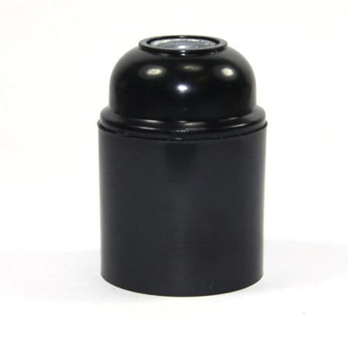 Black Bakelite 10mm Entry ES / E27 Lampholder Plain Skirt Earthed