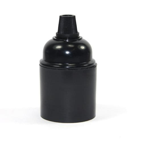 Black Bakelite Cordgrip Entry ES / E27 Lampholder Plain Skirt Earthed