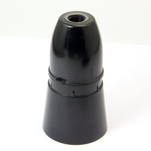 Black Plastic Skirted BC B22 Lampholder 10mm Entry Non-earthed