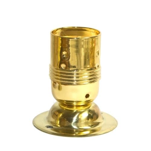 Brass Plated E27/ES Lampholder c/w Solid Brass Fixing Plate