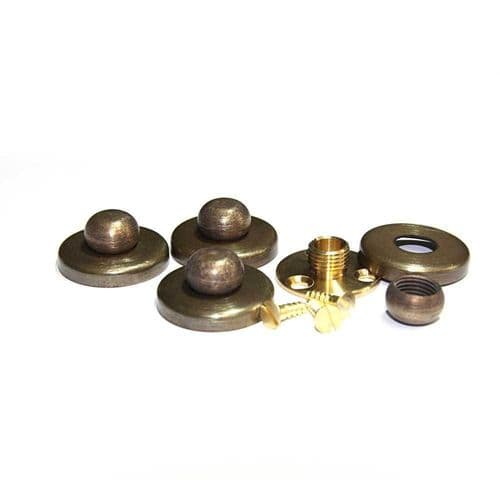 Brushed Solid Brass Finial c/w Fixing Plate & Cover For Pedestal Mount PKT 4
