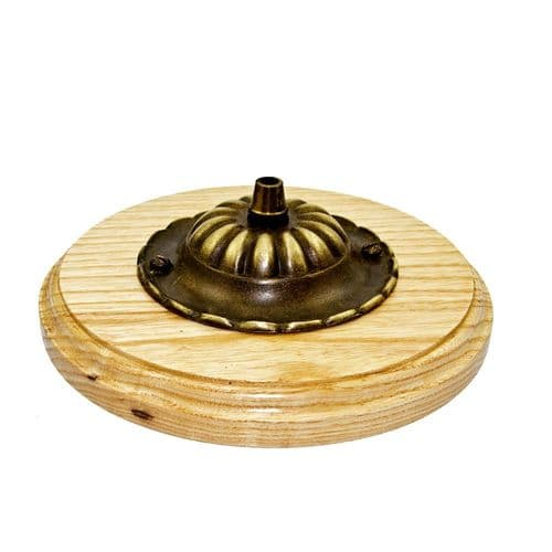 Hardwood Ash Pattress and Antiqued Solid Brass Ceiling Rose Cordgrip Fitting