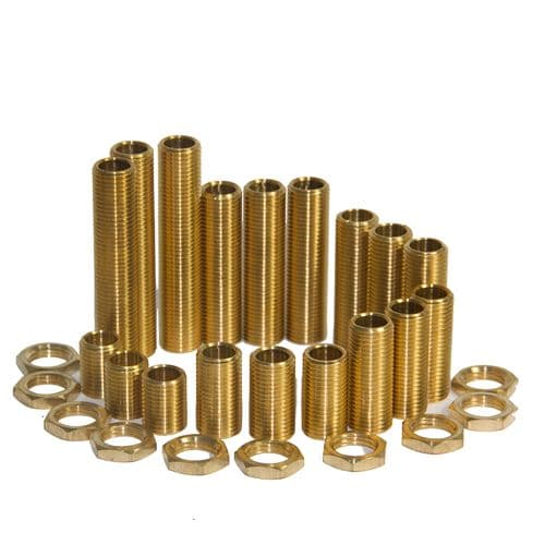 M10 x 1mm Pitch Solid Brass All thread Nipples Assorted Pack Med