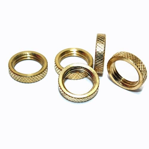 M10 x 1mm Pitch Solid Brass Knurled Edge Ring Nuts Pack of 5
