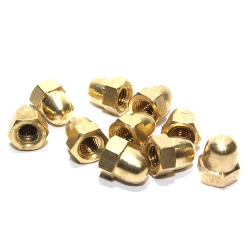 M5 Solid Brass Hex Dome Nuts Self Colour Packets of 10