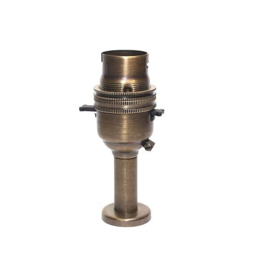 Solid Brass 10mm Switched Lampholder c/w Pedestal Brushed Antique Finish