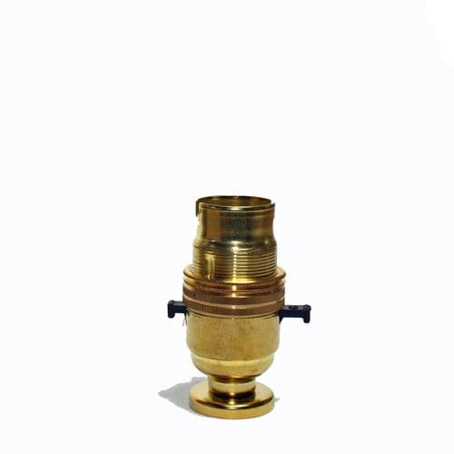 Solid Brass BC Switched Lampholder c/w Fixing Plate & Cover
