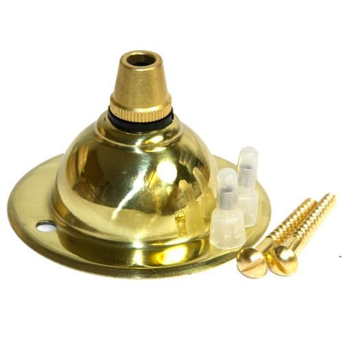 Solid Polished Brass  Chandelier Ceiling Plate & Cordgrip Deep