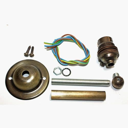 Unwired DIY BC Lampholder Kit For A Wall Sconce Fitting Solid Brass Brushed Antique Finish
