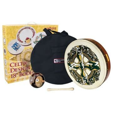 "Waltons PP Bodhran 18"" celtic cross with bag, tipper and dvd"
