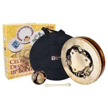 "Waltons PP Bodhran 18"" chase celtic with bag, tipper and dvd"