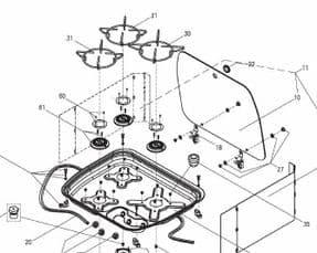 Spare Glass lid Dometic Cramer 3 burner hob CE99-ZF/DF/VF