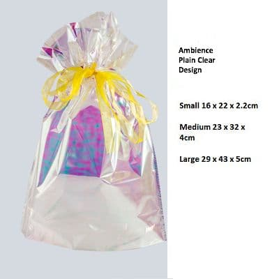 Ambience Plain Clear Drawstring Gift Bag by GiftMate
