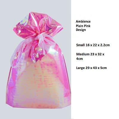 Ambience Plain Pink Drawstring Gift Bag by GiftMate