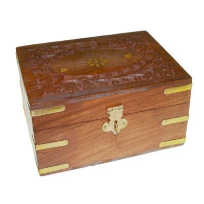 Aromatherapy Carved Box 12 With Brass Flower Inlay