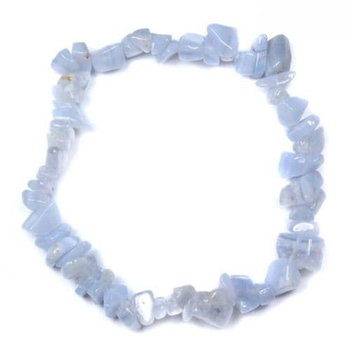 Blue Lace Agate Gemstone Chip Bracelet | Clouds