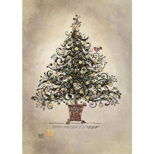 Bug Art Black Chintz Tree Christmas Card