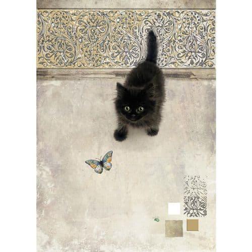 Bug Art Black Kitten Greetings Card