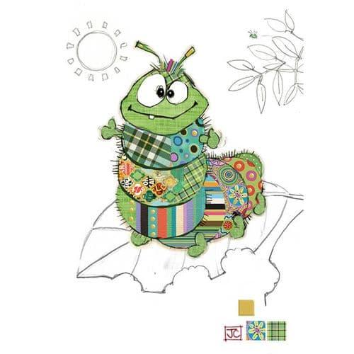Bug Art Cedric Caterpillar Greetings Card