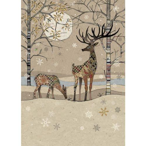 Bug Art Deer Landscape Christmas Card
