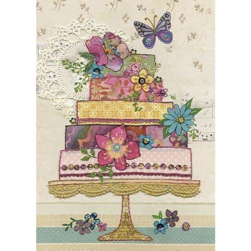 Bug Art Flower Cake Greetings Card