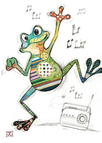 Bug Art Freddy Frog Greetings Card