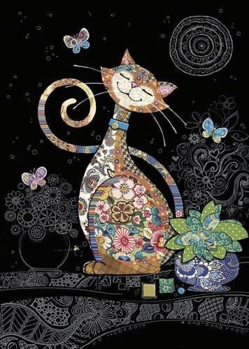 Bug Art Happy Cat Greetings Card
