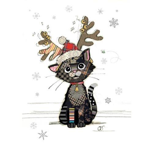 Bug Art Kitten Antlers Christmas Card