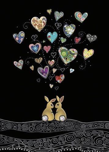 Bug Art Love Bunnies Greetings Card