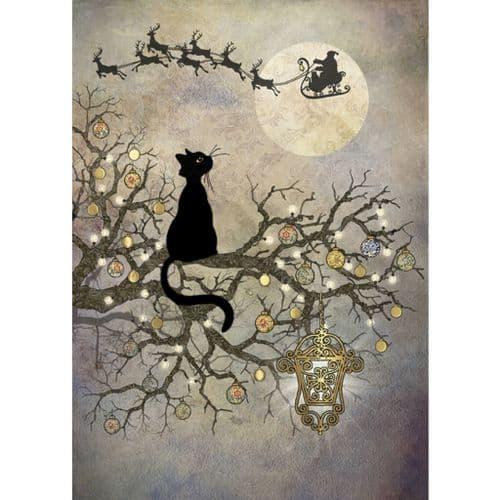 Bug Art Moon Cat Christmas Card