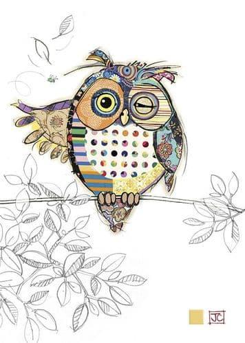 Bug Art Ollie Owl Greetings Card