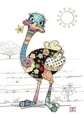 Bug Art Ozzie Ostrich Greetings Card