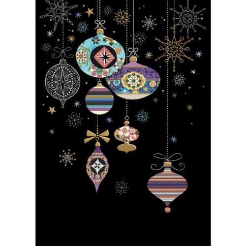 Bug Art Patterned Baubles Christmas Card