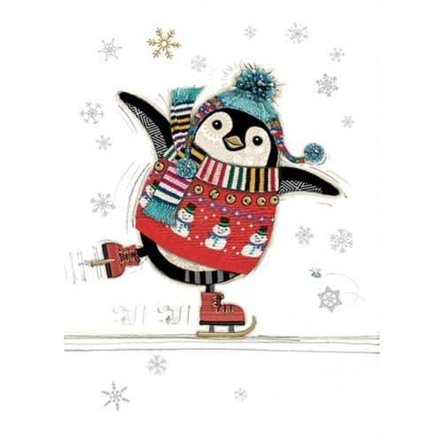 Bug Art Penguin Skater Christmas Card