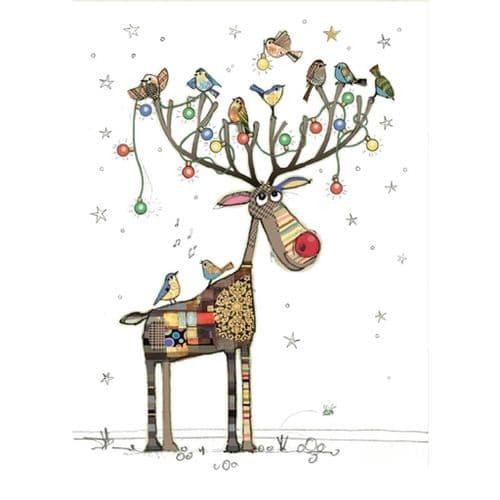 Bug Art Rudolph Perch Christmas Card