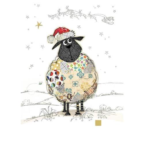 Bug Art Santa Sheep Christmas Card