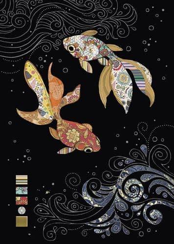 Bug Art Two Fantail Fish Greetings Card