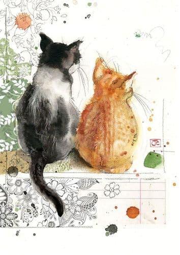 Bug Art Two Kittens Greetings Card
