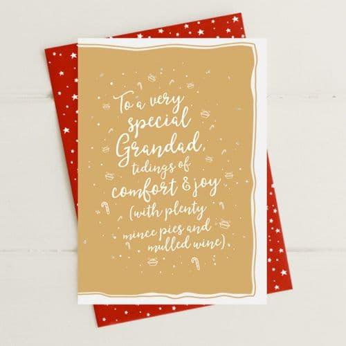 Grandad Tidings Of Comfort & Joy Greeting Card