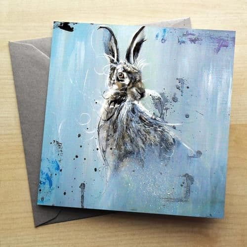 In The Mist Hare Greetings Card