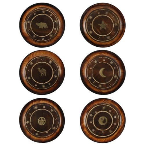 Mango Wood Round Incense Holder With Brass Inlay