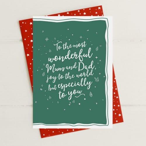 Mum & Dad Joy To The World Greeting Card